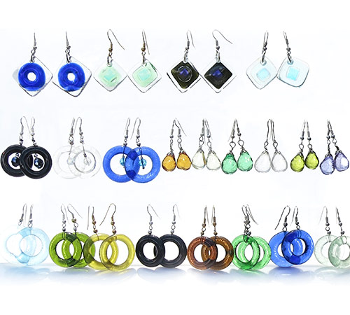 Jewellery-Assorted-recycled-glass-earrings.--Top-2-rows--Bottom-row-bottlenecks